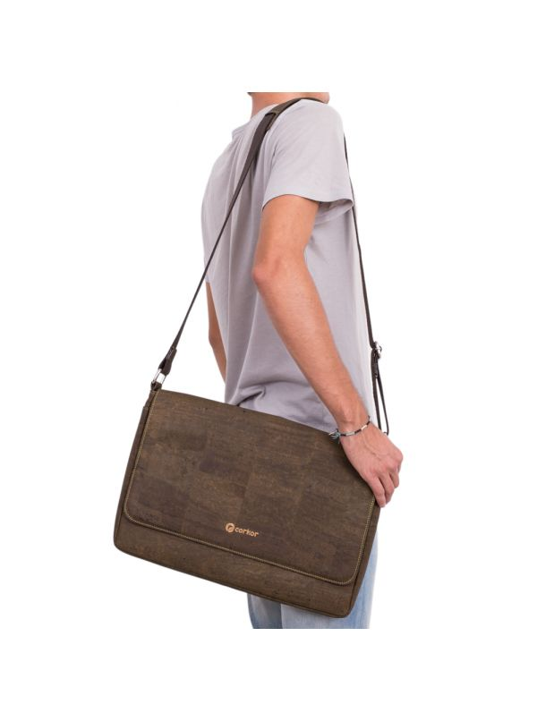 Corkor CK148C Vegan Messenger Dark Brown