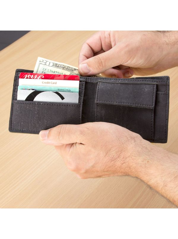 Corkor CK243P Black wallet with coin pocket inside